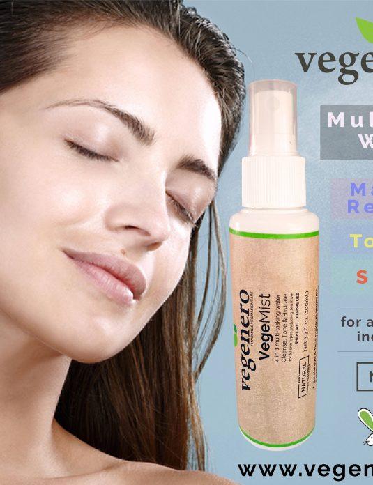 VegeMist Natural Vegan Face Eye Makeup remover mist toner sprayer spritzer